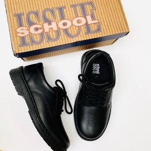 SCHOOL ISSUE Boys Black Leather Wide Shoes